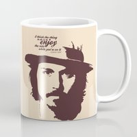 johnny depp Mugs featuring Lab No. 4 - Johnny Depp Motivational quotes Poster by Lab No. 4