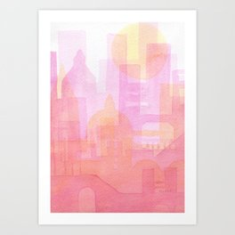 Pink and golden city watercolor Art Print