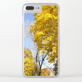 trees in the autumn season Clear iPhone Case