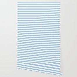 Blue and white Horizontal Stripes Wallpaper