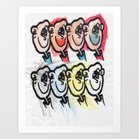 Eight faces looking right Art Print