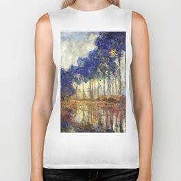 Poplars on the Bank of the Epte River by Claude Monet Biker Tank