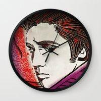 elvis presley Wall Clocks featuring Elvis Presley by Art By Ariel Cruz
