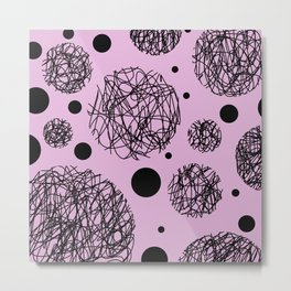 Scribbles II - Abstract black scribbles and black circles pattern on pink Metal Print