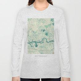Rotterdam Map Blue Vintage Long Sleeve T-shirt