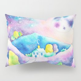 Magical Moonscape - Fantasy Watercolor Landcape Mountains, Full Moon, & Trees Pillow Sham