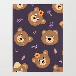 Bears & Mushrooms Pattern Poster