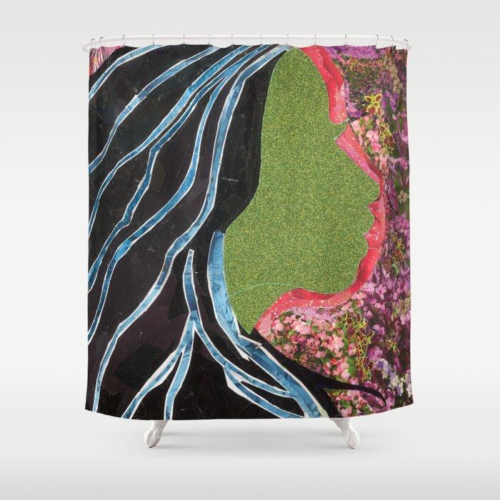 Black Hair Lady Shower Curtain