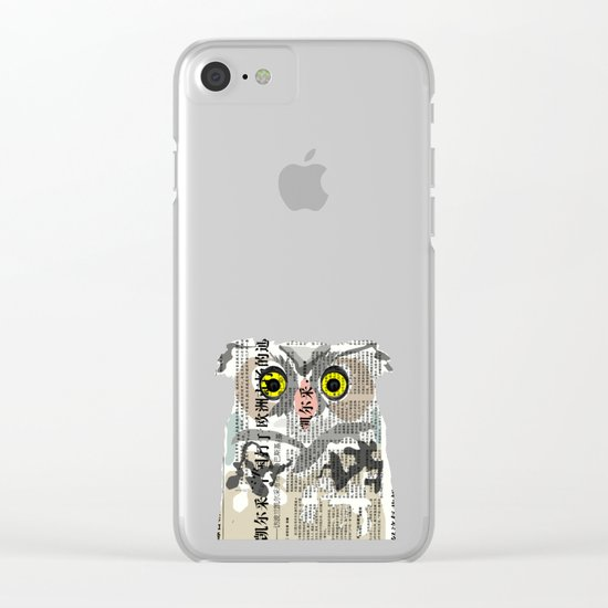 Owl Newspaper Collage Clear iPhone Case
