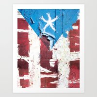 puerto rico Art Prints featuring Puerto Rico Flag by Fresh & Poppy