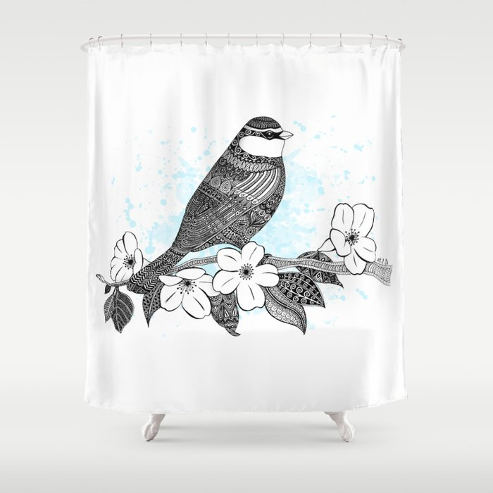Bird and cherry blossoms Shower Curtain
