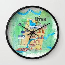 USA Utah State Travel Poster Illustrated Art Map Wall Clock