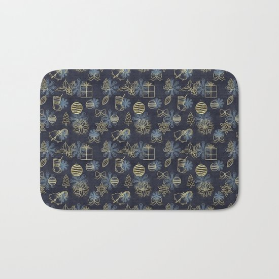 Christmas Golden pattern on dark blue background Bath Mat