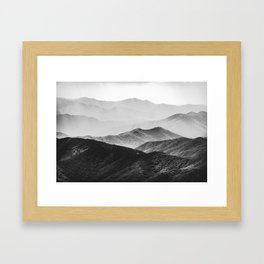 Glimpse - Black and White Mountains Landscape Nature Photography Framed Art Print