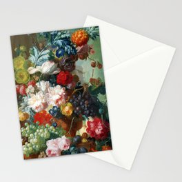 Fruit and Flowers in a Terracotta Vase by Jan van Os Stationery Cards