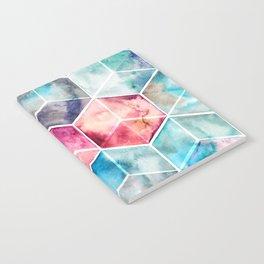Translucent Watercolor Hexagon Cubes Notebook