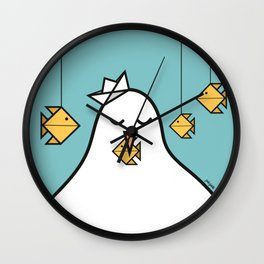The Seagull and The Origami Fishes Wall Clock