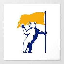 Polar Bear Holding Flag Waving Mascot Canvas Print