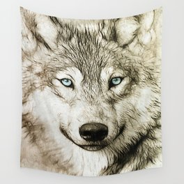 Smokey Sketched Wolf Wall Tapestry