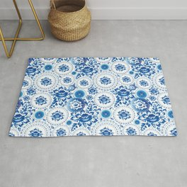 Vintage shabby Chic pattern with blue flowers and leaves Rug