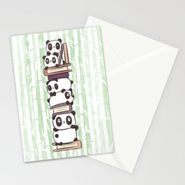 PILE OF PANDAS AND BOOKS Stationery Cards
