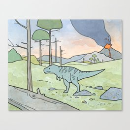 Tyrannsaurus Rex and Volcano Canvas Print