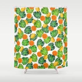 Oranges Lemons Monstera White Shower Curtain