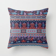 serbian history told through cross-stitch Throw Pillow
