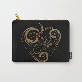 GOLDEN HEART  (valentine art deco abstract love) Carry-All Pouch