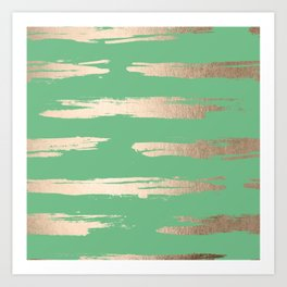Abstract Paint Stripes Gold Tropical Green Art Print