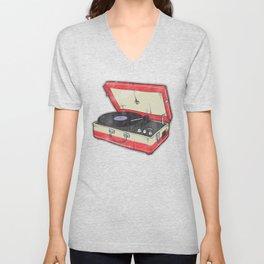 Vintage Record Player Unisex V-Neck