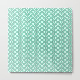 Modern Spring Mint Green and White Quatrefoil Pattern Metal Print