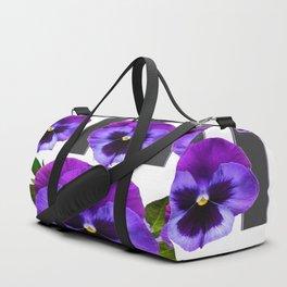 WHITE LILAC & PURPLE PANSY FLOWERS ART Duffle Bag