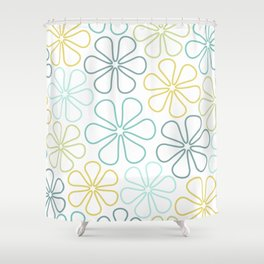 Abstract Flower Outlines Teals Yellow Lime White Shower Curtain