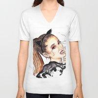 ariana grande V-neck T-shirts featuring ARIANA G. by CARLOS CASANOVA