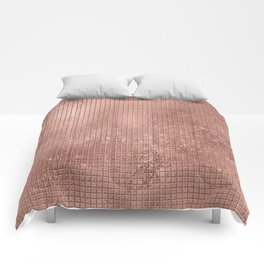 Beautiful Modern Rose Gold Square Pattern Comforters