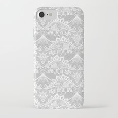 Stegosaurus Lace - White / Silver iPhone 7 Slim Case