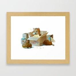 Happy kittens Framed Art Print
