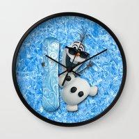 olaf Wall Clocks featuring SNOW MAN OLAF by BeautyArtGalery