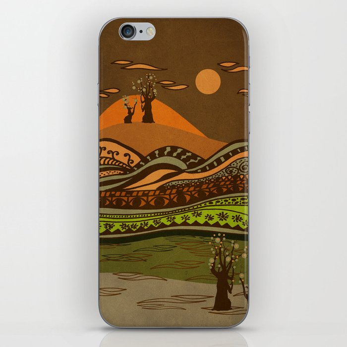 psychedelic mountains iPhone Skin