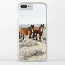 Desert Horse Pair Clear iPhone Case