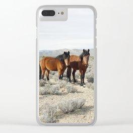 Desert Horse Pair Clear iPhone Case