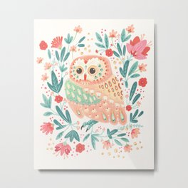 Little Pink Owl Metal Print