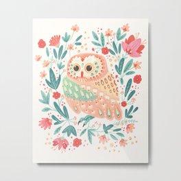 Little Pink Owl Metal Print