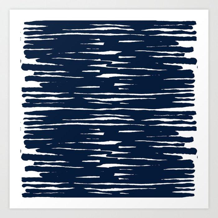 Maritime pattern- darkblue handpainted stripes on clear white- horizontal Art Print