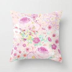 Flower bouquet in pink Throw Pillow