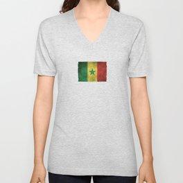 Old and Worn Distressed Vintage Flag of Senegal Unisex V-Neck