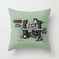 ewok Throw Pillows featuring Ewok Village by foreverwars