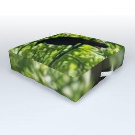 Black Bird Summer Green Tree Outdoor Floor Cushion