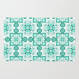 White turquoise ornament arabic Rug